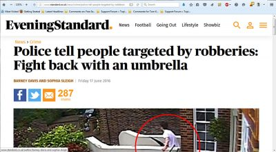 Police tell people targeted by robberies: Fight back with an umbrella