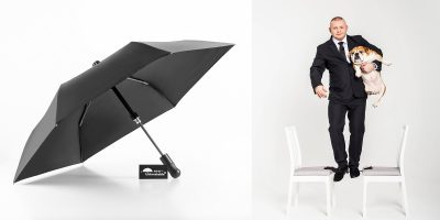 Unbreakable® Telescopic Umbrella U-212s supports a bouncer and a bulldog